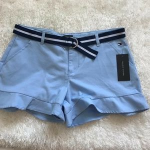 NWT Girls Tommy Hilfiger Shorts With Belt Blue